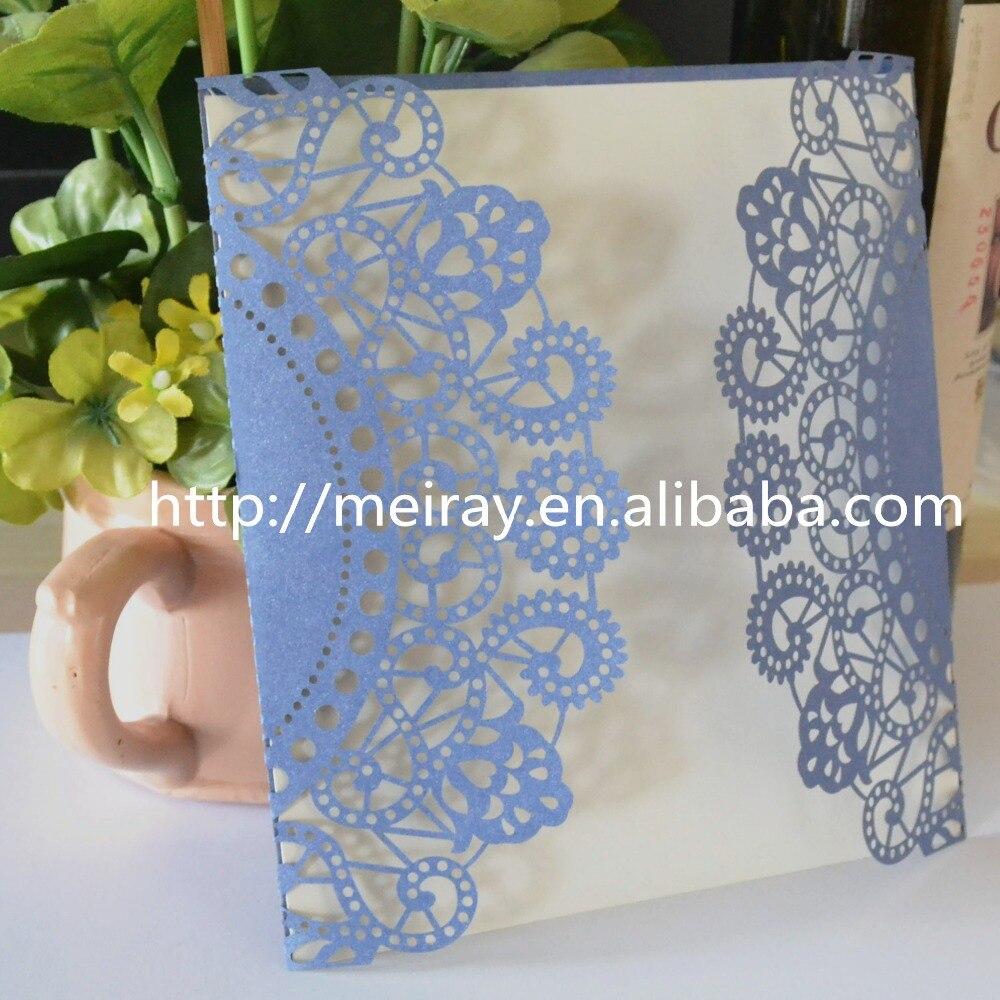 Marvelous Luxury Lace Wedding Invitation Card Laser Cut Blue,hindu Wedding  Card,customized Wedding Invitations