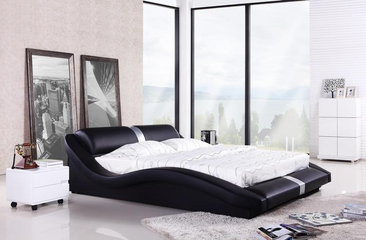 Bedroom Furniture European Modern Design Top Grain Leather King Queen Size Soft