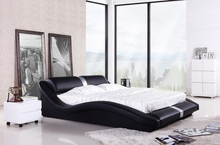 Bedroom Furniture, European Modern Design, Top Grain Leather, King / Queen Size Soft Bed with Bedside cabinet, Bedroom Bed A077