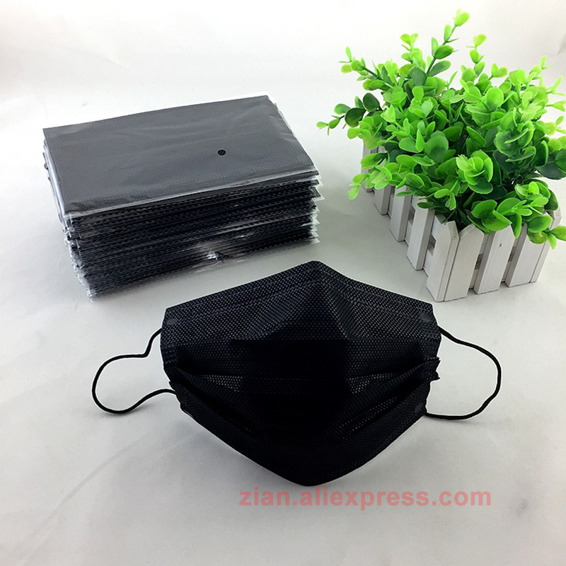 Mouth Bacterial Masks Mask Packaging Surgical Filter Black Dust Personal Respirator 50pcs Disposable Independent
