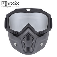 BJMOTO ATV Cycling biker Motorcycle Helmet Detachable Goggle Shield Nose Face Mask Eyewear Goggles glasses