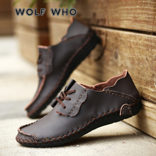 WOLF WHO Men Casual Shoes Brand Leather Male Driving Shoes Handmade Quality Man Loafer Shoes Flats Big Size 38-50 Moccasins W064