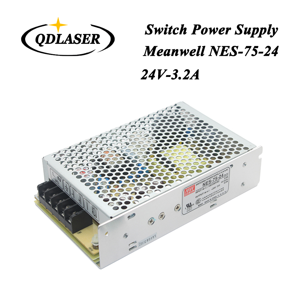 Taiwan Meanwell Switching Power Supply NES-75-24 24V 3.2A 75W for Laser Controller Single output DC Power Supply meanwell 24v 75w ul certificated nes series switching power supply 85 264v ac to 24v dc