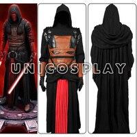 Star wars jedi robe darth revan cosplay traje capa preta túnica halloween manto com capuz outfit para o homem adultos custom made
