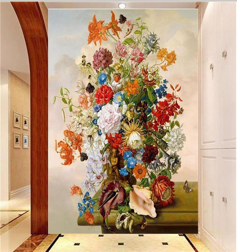 Custom Size Photo Mural Living Room 3d Wallpaper Porch Oil Painting Flower  Painting Picture Wall Murals Wallpaper For Walls 3d