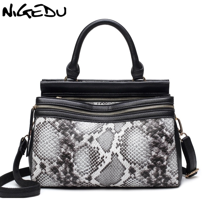 NIGEDU Brand Fashion Women Serpentine Handbag Large High Quality PU Leather Tote Bag Luxury Shoulder Bag for Women Crossbody Bag la maxza gifts for valentine s day leather tote bag for women large commute handbag shoulder bag zipper women s work satchel bag