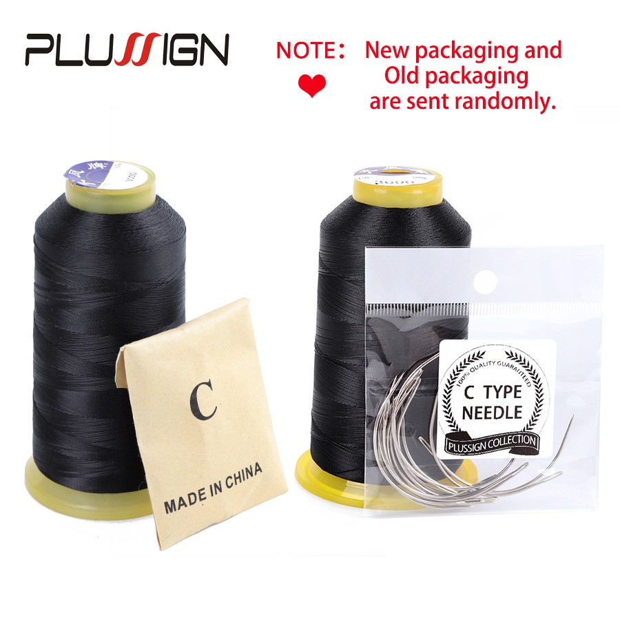 Canvas Black Weaving Thread Size 210 D with 12 pcs of 9cm-C Type Needles//Curved hair Needles High Strength Polyester Sewing Thread for Sewing Wigs Bags Shoes and More