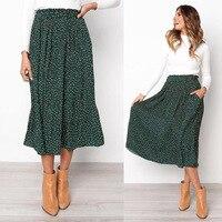 2019 Летняя Повседневная шифоновая плиссированная Макси-юбка с карманами с принтом и высокой талией, женские длинные юбки