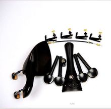 1 Set Brand New Ebony Wood 4/4 Violin Parts Chin Rest Black Hook Clamps Installed Endpin Tuners
