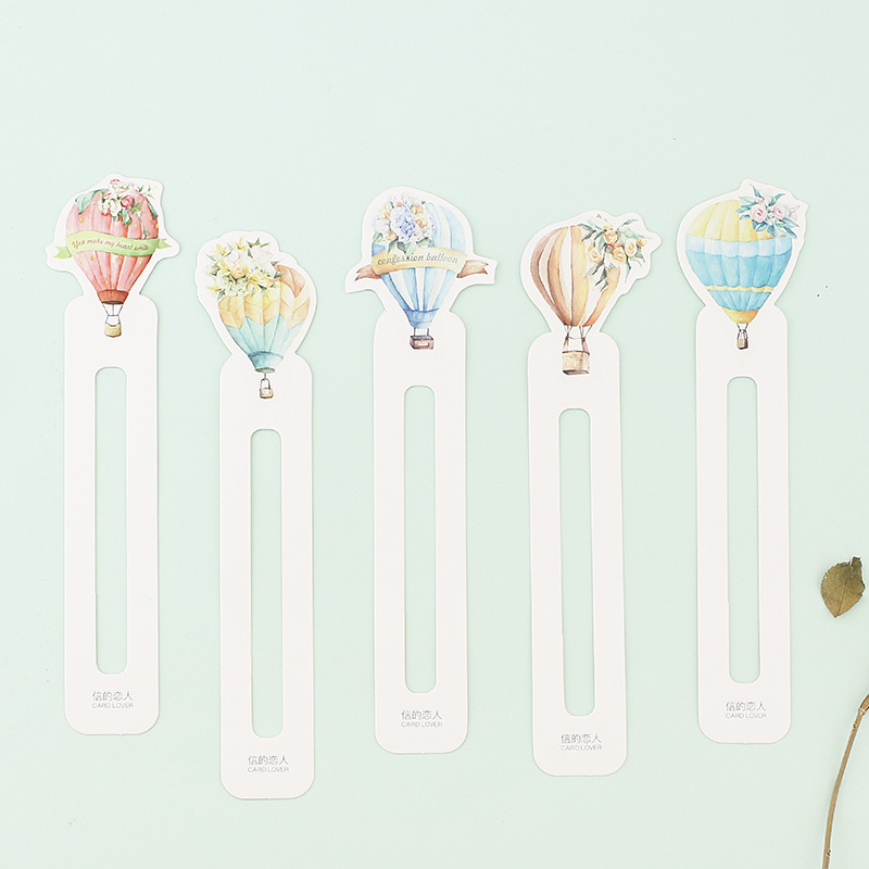 6 Set/Lot Cute Love Fire Balloon Page Holder Memo Note Hot Air Balloon Bookmarks  Stationery School Supplies FC394