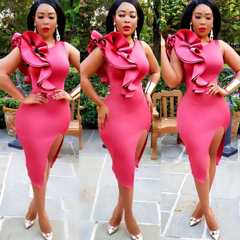 Africa Clothing Women Dress Hot Pink Right Side Ruffles Back Zipper Details Bodycon Dress Knee-Length  Elegant O-Neck Night Club