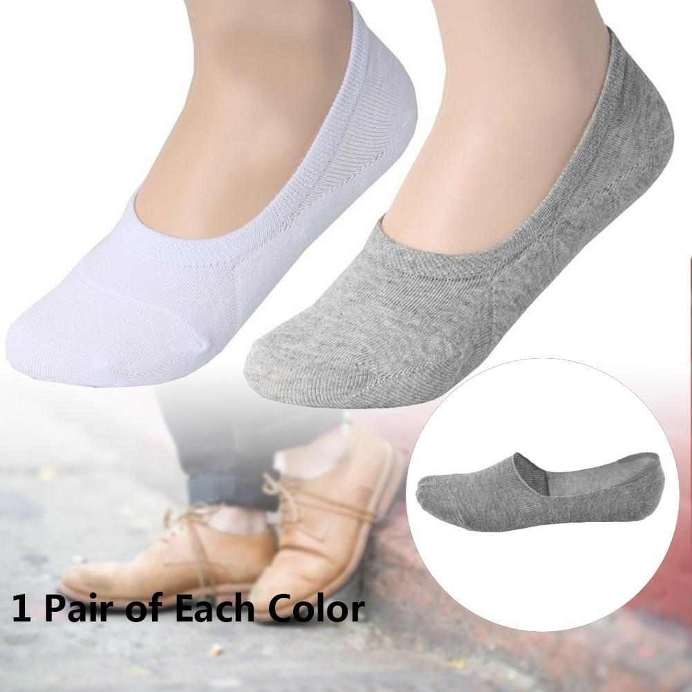 2 Pairs Women Socks Comfortable Loafer Boat Liner Low Cut Hidden Socks White + Grey Invisible Shallow Mouth Fashion Womens Socks
