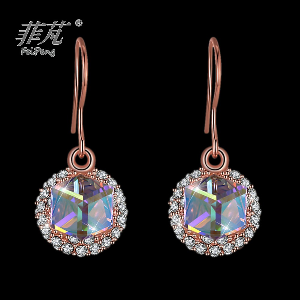 Less expensive free shipping Cube colorful crystal rose gold charm jewelry drop earrings cheaper than jewellery shopsLess expensive free shipping Cube colorful crystal rose gold charm jewelry drop earrings cheaper than jewellery shops
