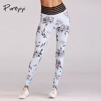 Pureyiyi Quick Dry Floral Printed Patchwork Yoga Pants Women High Waist Fitness Sport Leggings Push Hip