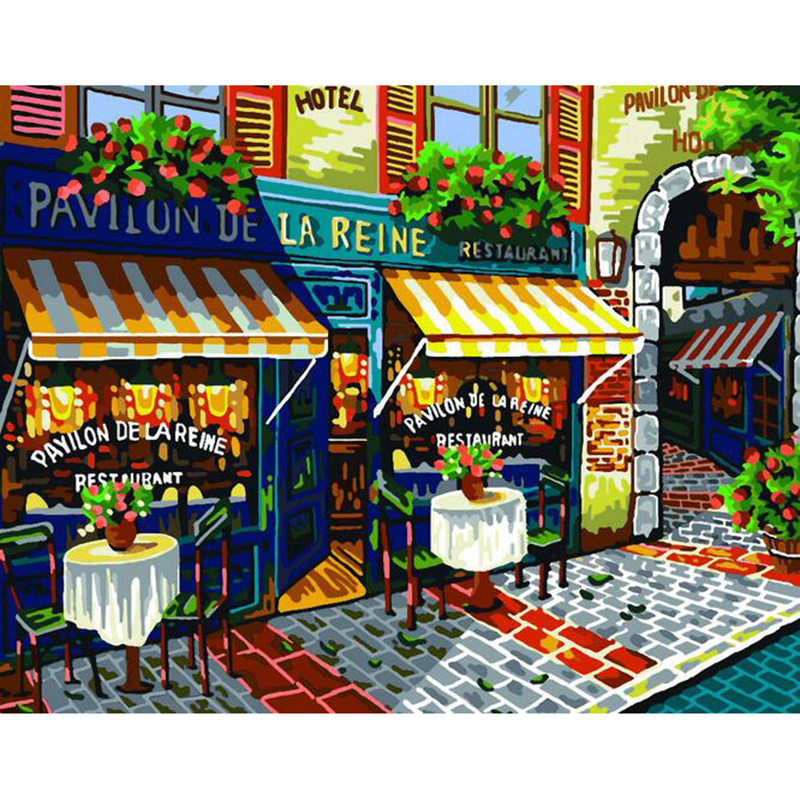 The small town of Paris canvas paintings home decoration oil painting by numbers scenery pictures 40X50cm wall art v57