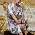 Мужчины Лето Ночная Рубашка Половина Рукава Нагрудные Шелковый Пижамы Японские Кимоно Шнуровка Халат Халат Атласная Длинные Плюс Размер XL-2XL Устойчивыми