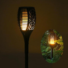 Solar powered LED Flame Lamp Waterproof 96LEDs Lawn Flame Flickering Torch Light Outdoor Solar LED Fire Lights Garden Decoration(China)