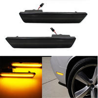 2x Smoked Lens Front Side Marker Lamps with 24 SMD Amber Yellow LED Lights For For 08 14 Dodge Challenger,11 14 Charger