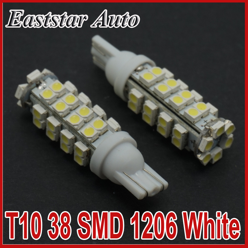 CQD-Light 2PCS T10 38 SMD Led Automotive Bulb 38 Leds 3528 SMD W5W 168 194 921 Interior Parking Lights Lamps Bulbs 12V DC