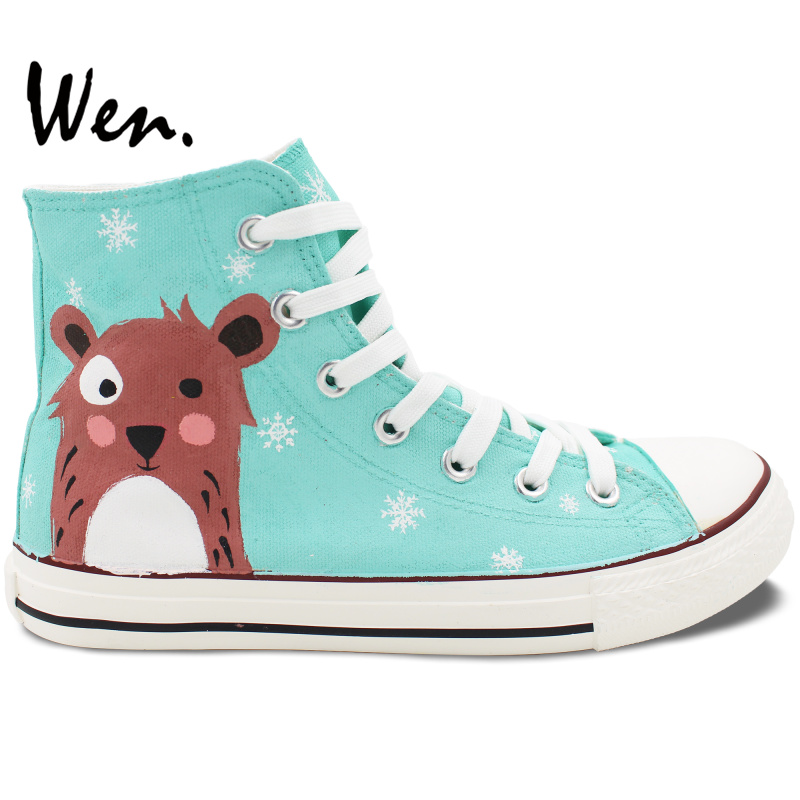 ФОТО Wen Original Men Womens Hand Painted Canvas Shoes Design Custom Cartoon Bear Snowflake High Top Flats Lace Up Sneakers for Gifts