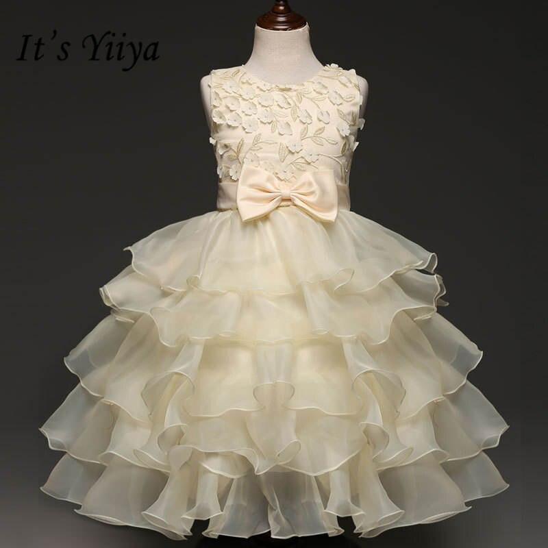 It's yiiya New Fashion Tiered Pleat   Flower     Girl     Dresses   O-neck Sleeveless   Girl     Dress   B010