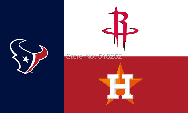 Houston State Fans Texans Rockets Astros Flag 150X90CM 3x5 FT Banner 100D Polyester Custom flag grommets 6038,free shipping
