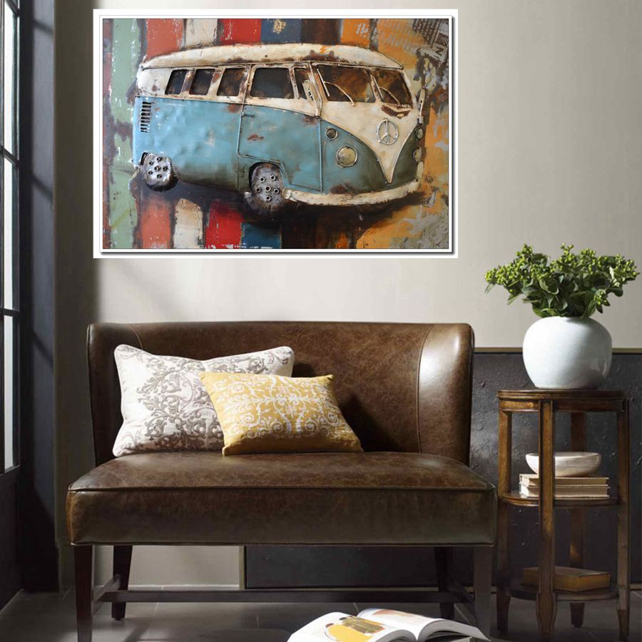 Gift vw volkswagen van oil painting canvas print vintage car wall gift vw volkswagen van oil painting canvas print vintage car wall art for office home decor retro artwork unframed drop shipping in painting calligraphy amipublicfo Images