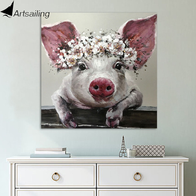 bfc632bf9ea ArtSailing 1 Piece Canvas Wall Art Bristle Pig Wearing Wreath Canvas  Bristle with Flower Crown Posters and Prints Bathroom Decor