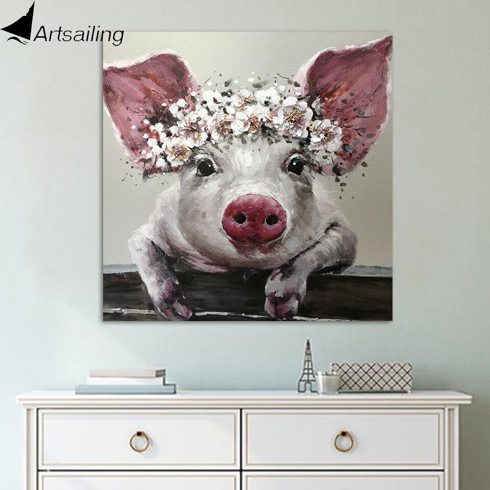 ArtSailing 1 stück Leinwand Wand Kunst Borsten Schwein Tragen Kranz Leinwand Borsten mit Blume Crown Poster und Drucke Badezimmer Dekor
