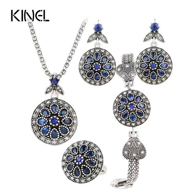 Top Charm Vintage Jewelry Set Round Crystal Flower Earrings /Bracelets  DG34