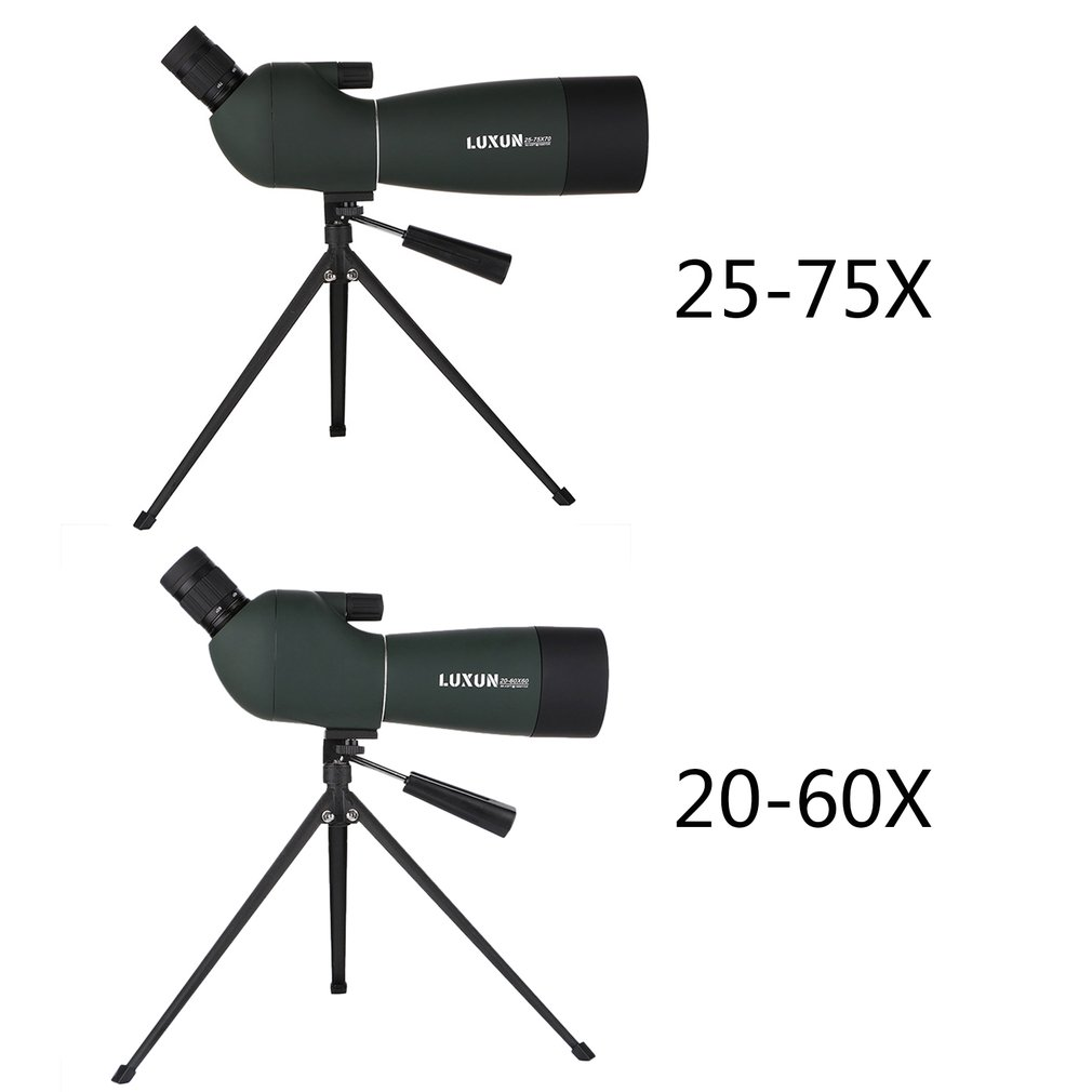 20-60x60/25-75x70 Spotting Scope Zoom Monocular Telescope Large Aperture HD Outdoor Observation Waterproof Green Film Telescope