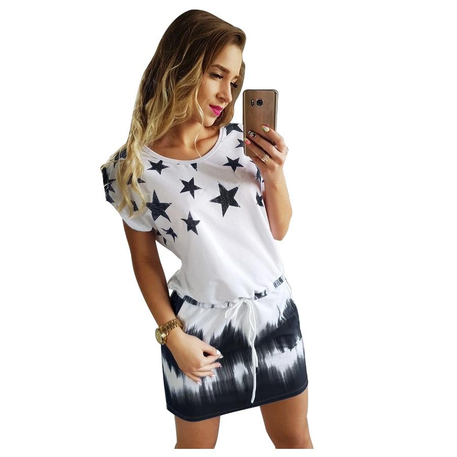 Frauen Neue Mode Sommer Minikleid Rundhals Casual Kleidung Sterne Druck Gradienten Etuikleider