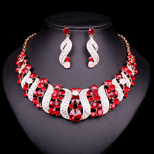 NEW Red Crystal Choker Necklace Earrings Bridal Indian Jewelry Sets Bride Gold Color jewellery Wedding Prom Accessories Women