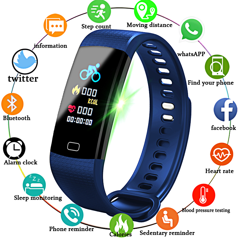 LIGE Smartwatch Inteligente Eletrônico Relógio Das Mulheres Dos Homens Correndo Ciclismo Escalada Esporte pulseira Inteligente Pedômetro Saúde LEVOU Cor Da Tela