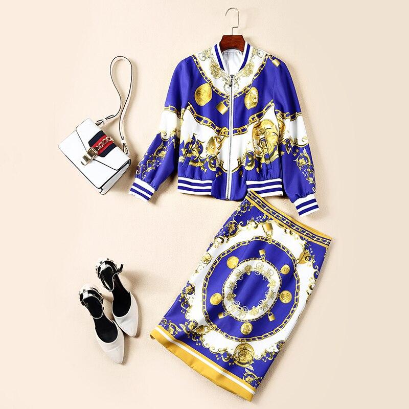 2 Piste De Bleu Tenues Pièces 2019 Jeu Supérieure Qualité Jupe Printemps Costumes Ensembles Imprimé Automne Veste Designers Dames Droite Décontractées IOw4wxqH
