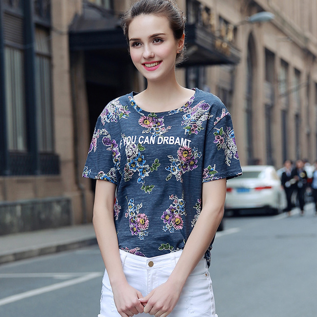 2017 New Arrival Harajuku Floral Printed Women Top Tees O-Neck Short Sleeve Casual Elegant T-Shirt Kawali Women Tops