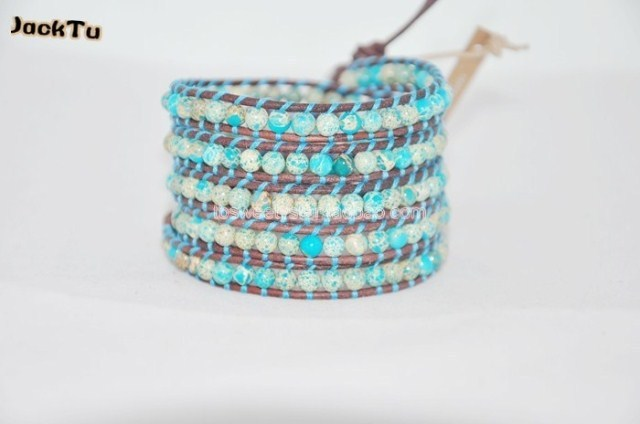 Free shipping hottest style imperial jasper  leather wrap bracelet