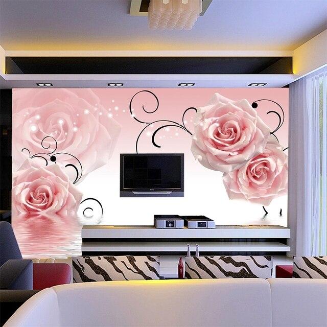 custom wall mural 3D Pink rose mural theme hotel sofa TV living room ...