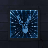 Deer Head Deer Antler 3D Optical illusion Infinity Mirror Wood Frame Woodland Deer Buck Wildlife LED Never ending Tunnel Light|LED Indoor Wall Lamps| |  -