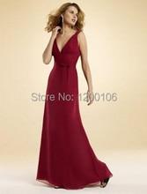 2014 New Design V-Neck Cut Out Burgundy Long Chiffon Summer Prom Bridesmaid Dresses