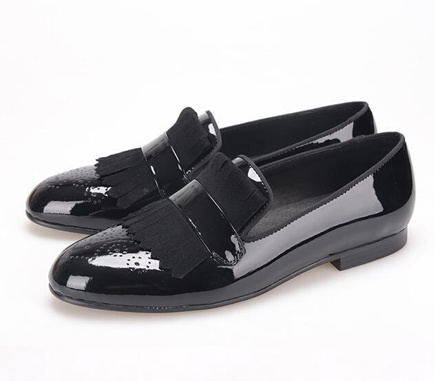 474b377b10 2017 new style Handmade Men Black Patent Leather shoes with Classical  Brogue Printing and Suede Fringe Party men loafer