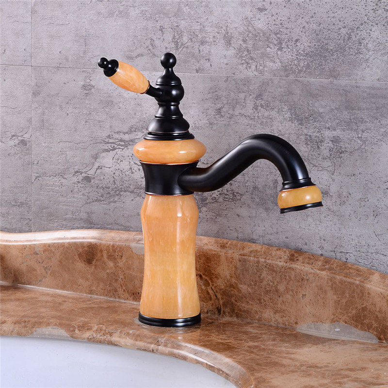 Basin Faucet Black Basin Sink Mixer Tap Brass and Yellow jade single lever Cold And Hot Water Basin Faucet Water Faucet fashion brass bathroom sink faucet single lever hot and cold basin faucet water tap mixer