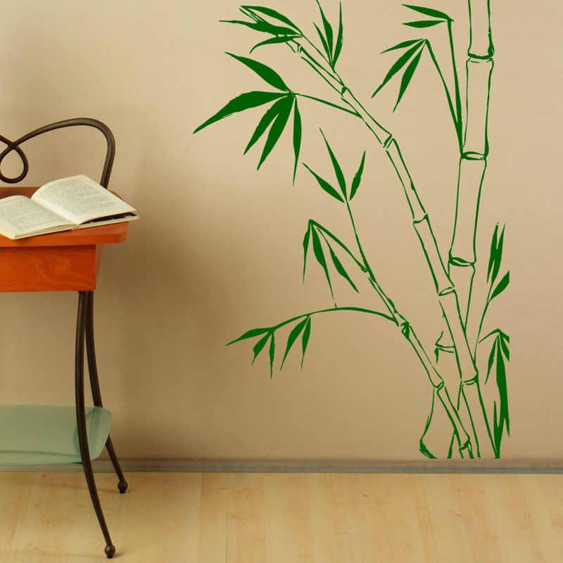 Природа листья бамбука стены Стикеры Домашний Декор стены Книги по искусству фрески съемный Гостиная Спальня украшение стены таблички