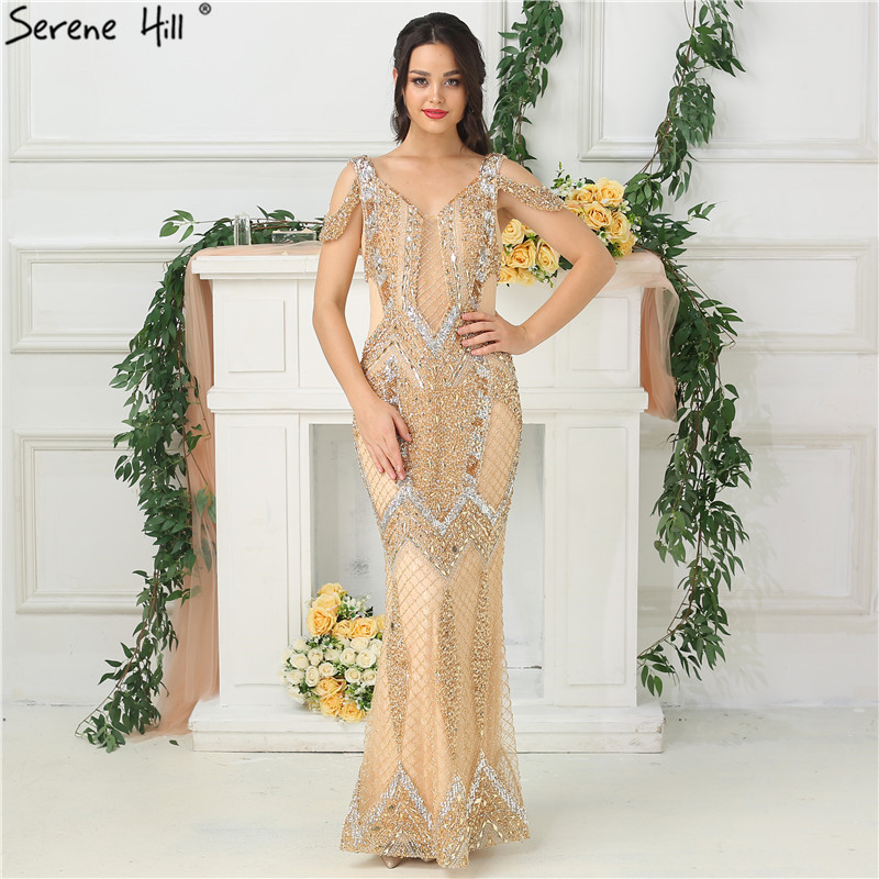 Evening Dresses Dubai Gold Beading Pearls Luxury Evening Dresses 2019 Latest Design V-neck Sleeveless Sexy Evening Gowns Serene Hill La60896