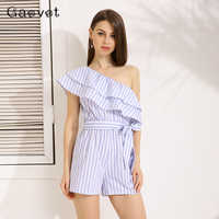 Gracegirl 2017 Summer Women Playsuits Series Spring New Off Shoulder Ruffles Striped Print Sexy Romper Jumpsuit