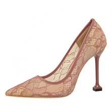 LISM 2018 spring and summer new female high heels sexy hollow mesh cloth tip with Europe and the United States