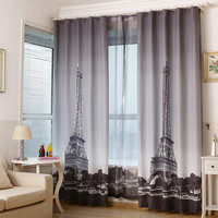 Line Material Eiffel Tower Window Curtain For Living Room 130 260 With S Hooks