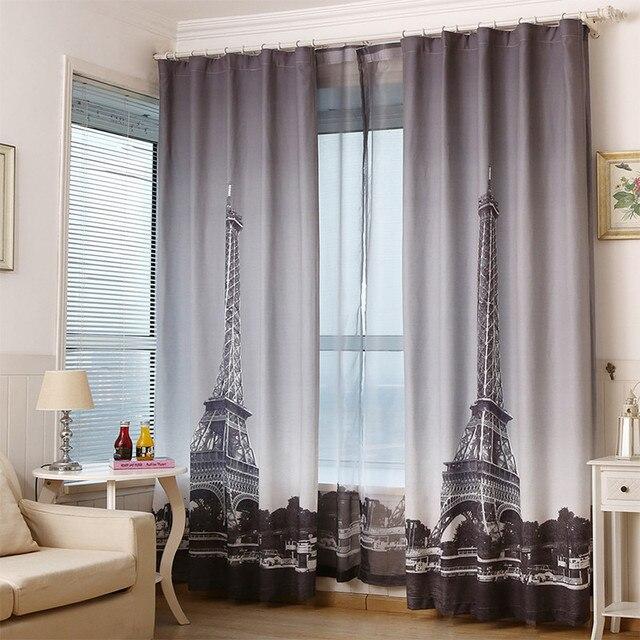 130*260 cm Linnen katoen mengen 3d Eiffeltoren gordijn voor ...