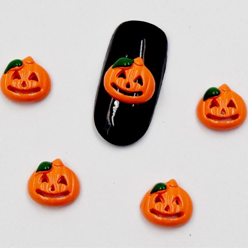 ᐂBeleshiny 10 unids cabeza de calabaza diseño Manicura Halloween ...