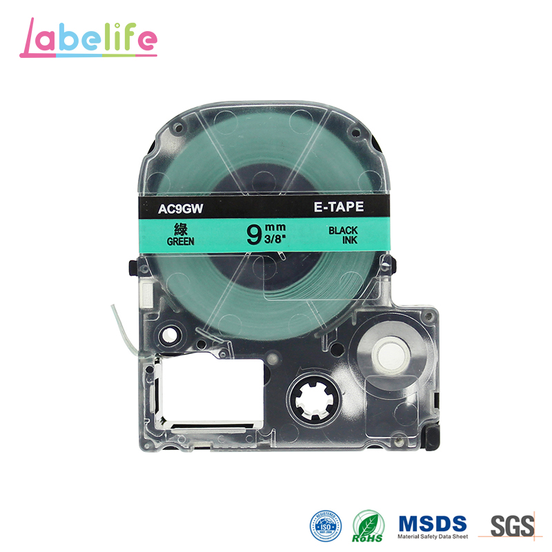 Labelife SC9GW Compatible EPSON Label Printer Ribbon 9mm Green On Black Text Printer Tape Also For King Jim TEPRA Tape Printer image